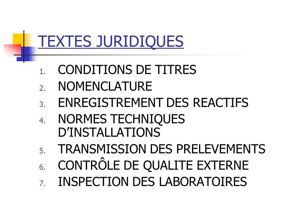 TEXTES JURIDIQUES 1. CONDITIONS DE TITRES 2. NOMENCLATURE 3. ENREGISTREMENT DES REACTIFS 4. NORMES TECHNIQUES DINSTALLATIONS 5. TRANSMISSION DES PRELE