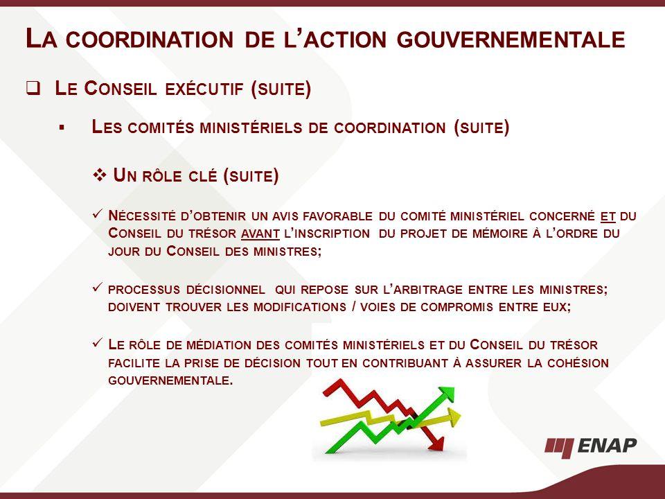 L A COORDINATION DE L ACTION GOUVERNEMENTALE L E C ONSEIL EXÉCUTIF ( SUITE ) L ES COMITÉS MINISTÉRIELS DE COORDINATION ( SUITE ) U N RÔLE CLÉ ( SUITE
