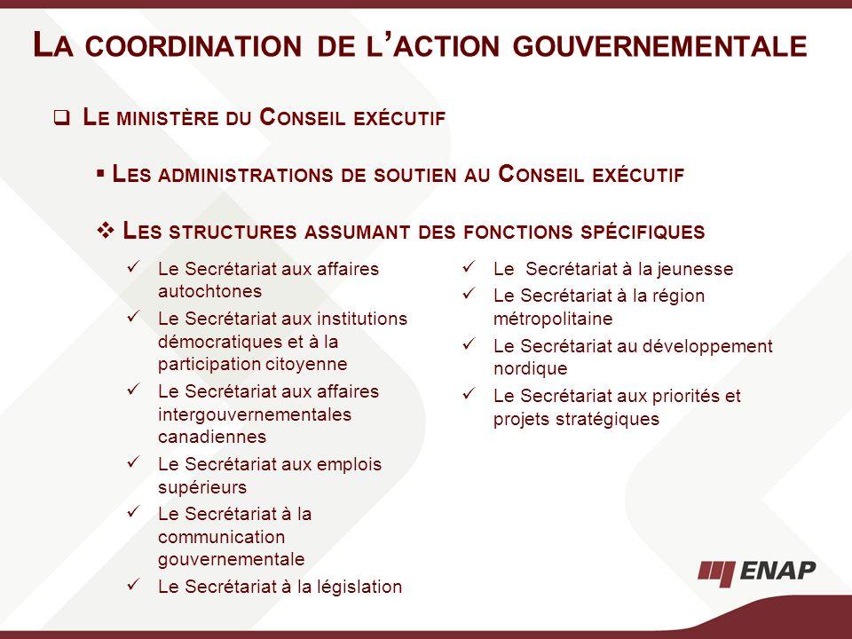 L A COORDINATION DE L ACTION GOUVERNEMENTALE Le Secrétariat aux affaires autochtones Le Secrétariat aux institutions démocratiques et à la participati