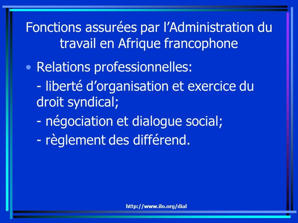 http://www.ilo.org/dial Fonctions assurées par lAdministration du travail en Afrique francophone Relations professionnelles: - liberté dorganisation et exercice du droit syndical; - négociation et dialogue social; - règlement des différend.