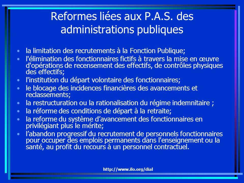 http://www.ilo.org/dial Reformes liées aux P.A.S. des administrations publiques la limitation des recrutements à la Fonction Publique; l'élimination d