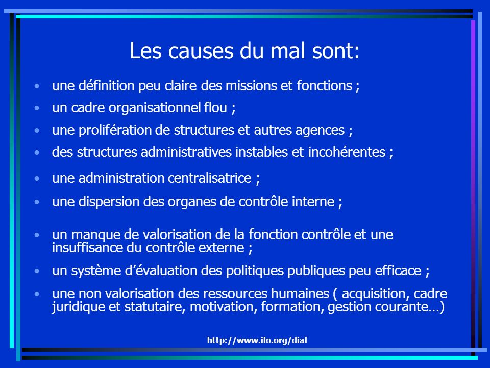 http://www.ilo.org/dial Les causes du mal sont: une définition peu claire des missions et fonctions ; un cadre organisationnel flou ; une prolifératio