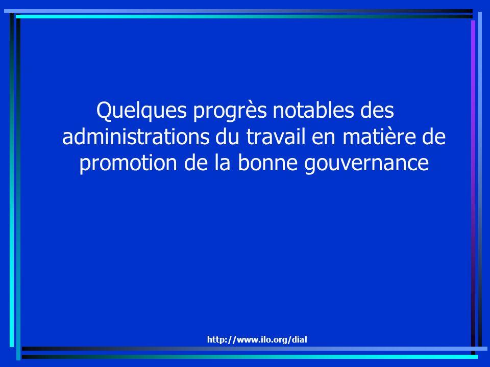 http://www.ilo.org/dial Quelques progrès notables des administrations du travail en matière de promotion de la bonne gouvernance