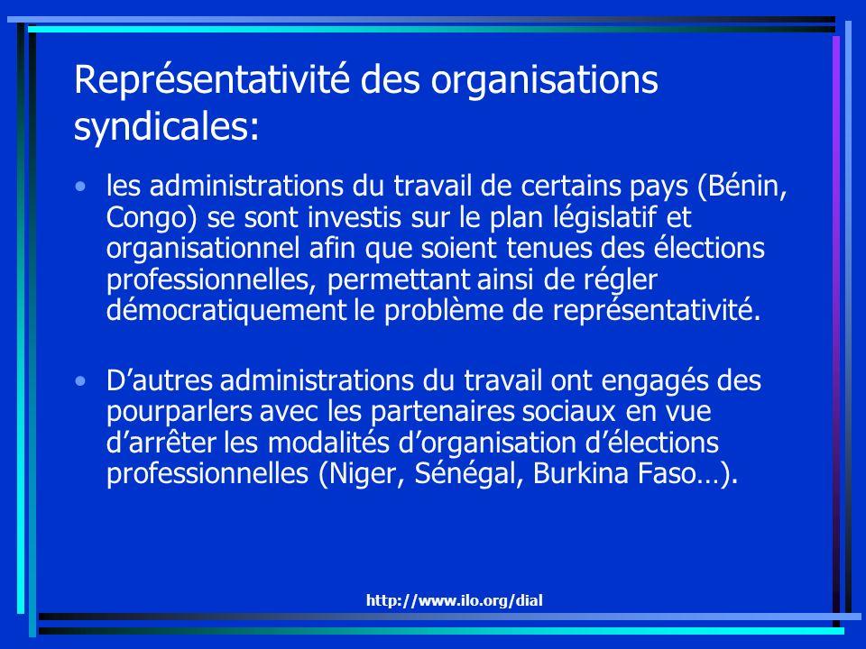 http://www.ilo.org/dial Représentativité des organisations syndicales: les administrations du travail de certains pays (Bénin, Congo) se sont investis sur le plan législatif et organisationnel afin que soient tenues des élections professionnelles, permettant ainsi de régler démocratiquement le problème de représentativité.