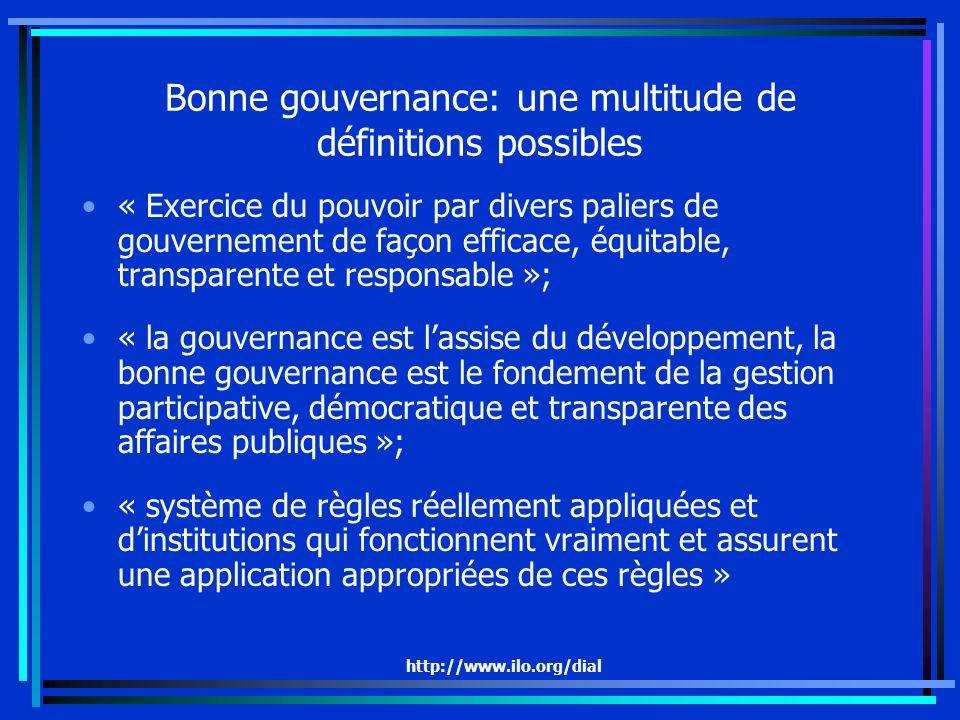 http://www.ilo.org/dial Bonne gouvernance: une multitude de définitions possibles « Exercice du pouvoir par divers paliers de gouvernement de façon efficace, équitable, transparente et responsable »; « la gouvernance est lassise du développement, la bonne gouvernance est le fondement de la gestion participative, démocratique et transparente des affaires publiques »; « système de règles réellement appliquées et dinstitutions qui fonctionnent vraiment et assurent une application appropriées de ces règles »