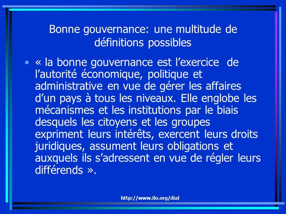 http://www.ilo.org/dial Bonne gouvernance: une multitude de définitions possibles « la bonne gouvernance est lexercice de lautorité économique, politique et administrative en vue de gérer les affaires dun pays à tous les niveaux.