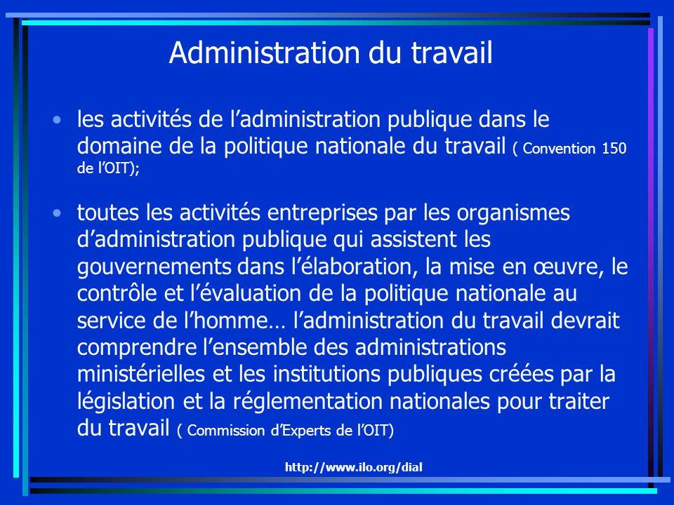 http://www.ilo.org/dial Administration du travail les activités de ladministration publique dans le domaine de la politique nationale du travail ( Con