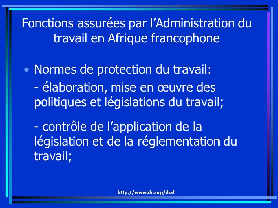 http://www.ilo.org/dial Fonctions assurées par lAdministration du travail en Afrique francophone Normes de protection du travail: - élaboration, mise en œuvre des politiques et législations du travail; - contrôle de lapplication de la législation et de la réglementation du travail;