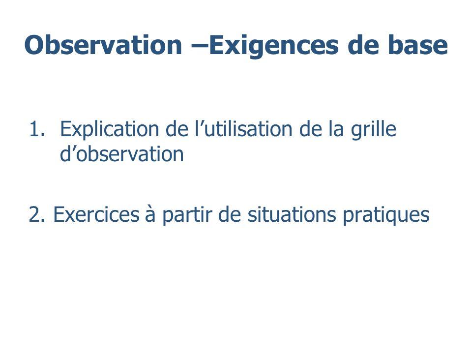 Observation –Exigences de base 1.Explication de lutilisation de la grille dobservation 2. Exercices à partir de situations pratiques