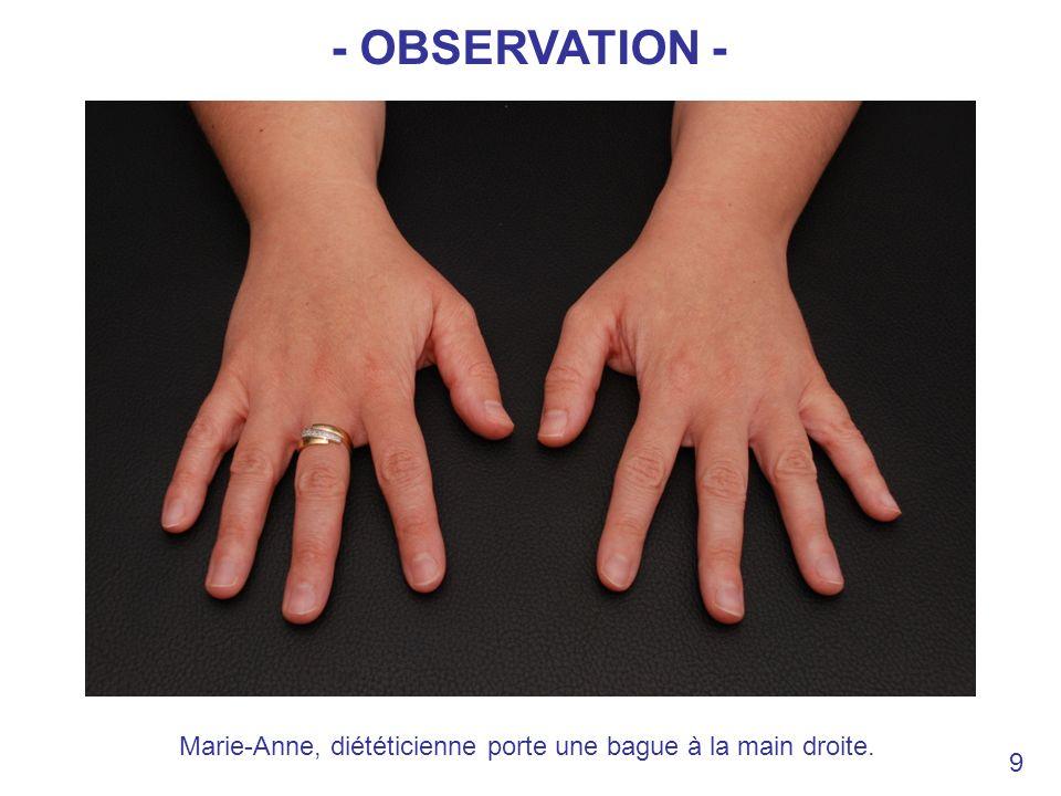 Marie-Anne, diététicienne porte une bague à la main droite. 9 - OBSERVATION -