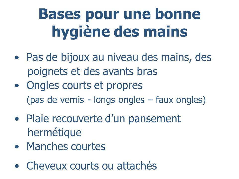 Bases pour une bonne hygiène des mains Pas de bijoux au niveau des mains, des poignets et des avants bras Ongles courts et propres (pas de vernis - lo