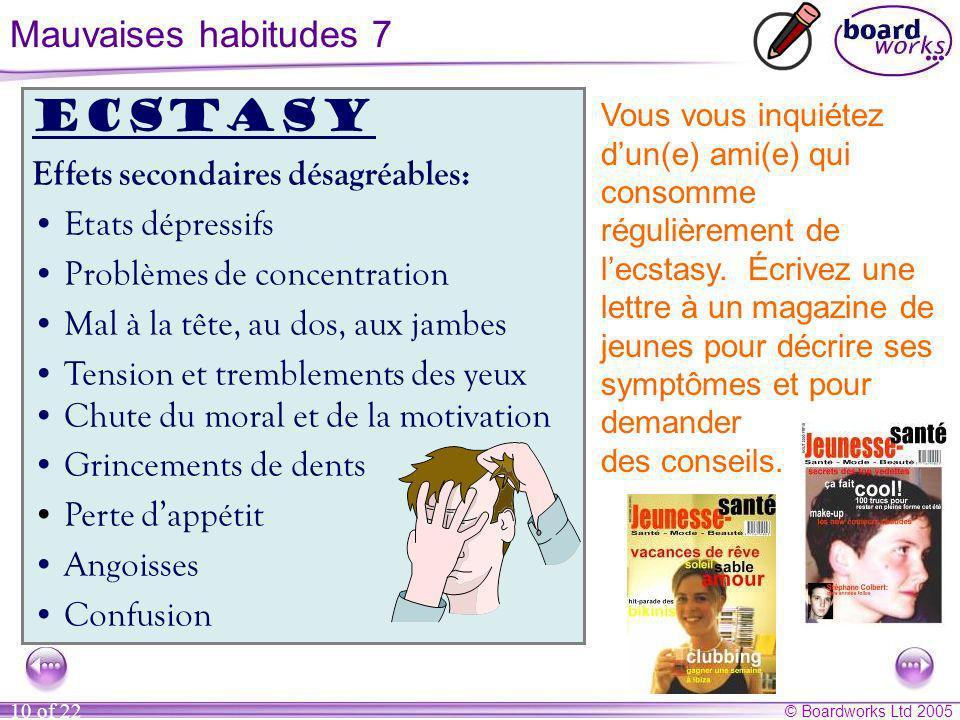 © Boardworks Ltd 2005 10 of 22 Vous vous inquiétez dun(e) ami(e) qui consomme régulièrement de lecstasy.