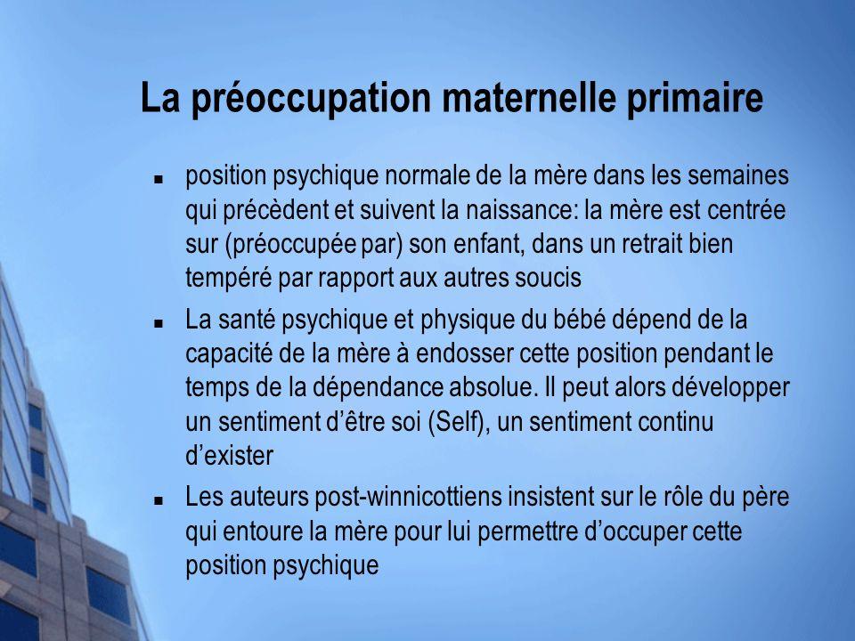 La préoccupation maternelle primaire position psychique normale de la mère dans les semaines qui précèdent et suivent la naissance: la mère est centré