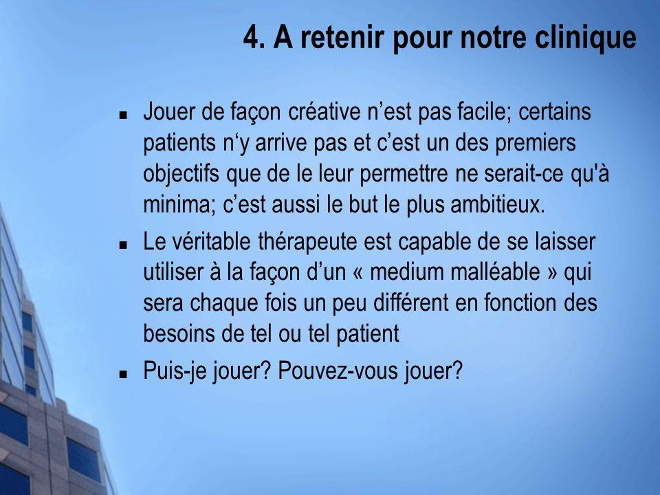 4. A retenir pour notre clinique Jouer de façon créative nest pas facile; certains patients ny arrive pas et cest un des premiers objectifs que de le