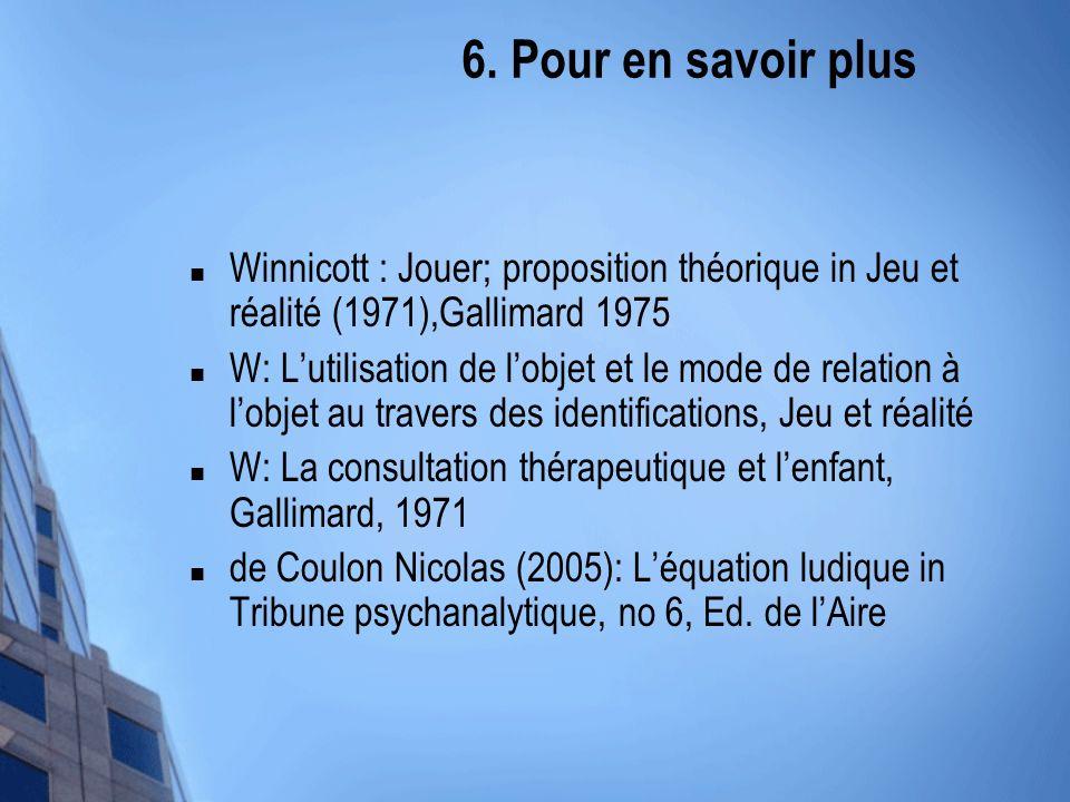 6. Pour en savoir plus Winnicott : Jouer; proposition théorique in Jeu et réalité (1971),Gallimard 1975 W: Lutilisation de lobjet et le mode de relati