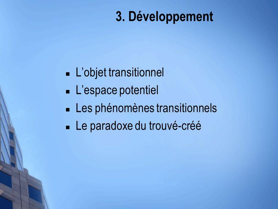 3. Développement Lobjet transitionnel Lespace potentiel Les phénomènes transitionnels Le paradoxe du trouvé-créé