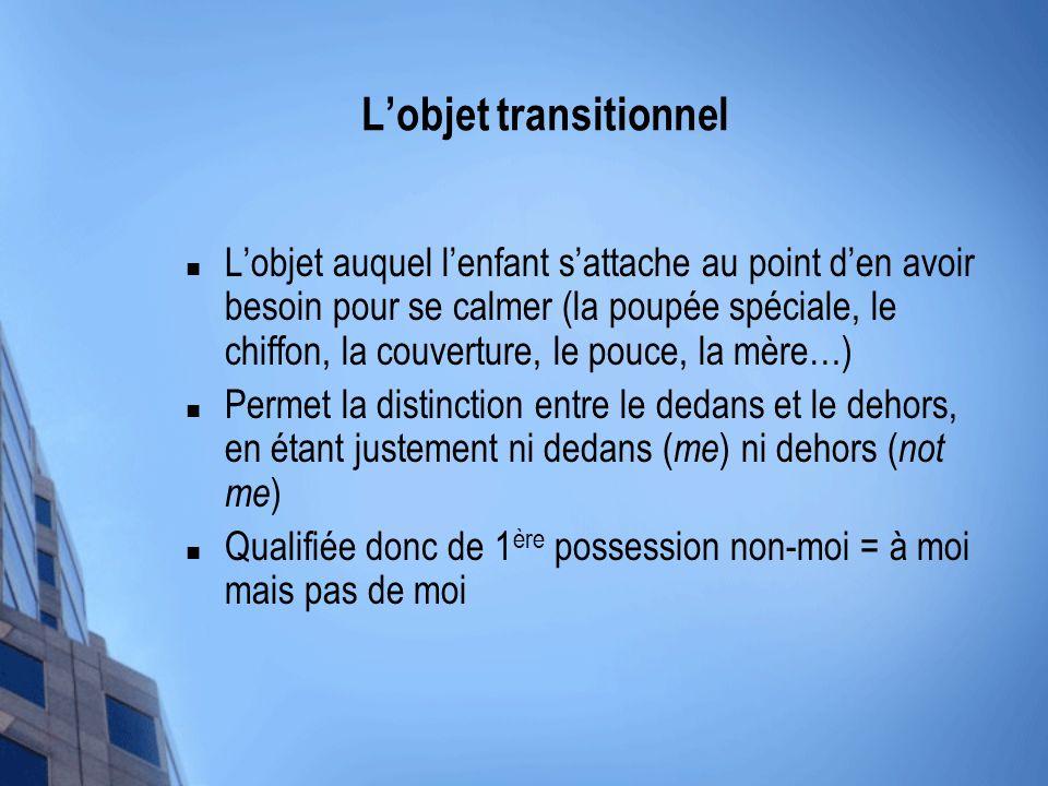 Lobjet transitionnel Lobjet auquel lenfant sattache au point den avoir besoin pour se calmer (la poupée spéciale, le chiffon, la couverture, le pouce,
