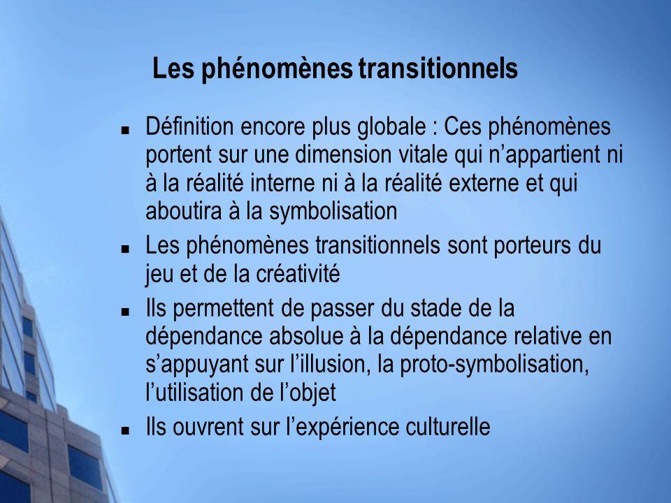 Les phénomènes transitionnels Définition encore plus globale : Ces phénomènes portent sur une dimension vitale qui nappartient ni à la réalité interne