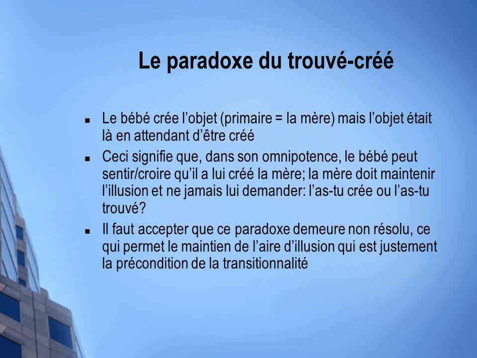Le paradoxe du trouvé-créé Le bébé crée lobjet (primaire = la mère) mais lobjet était là en attendant dêtre créé Ceci signifie que, dans son omnipoten