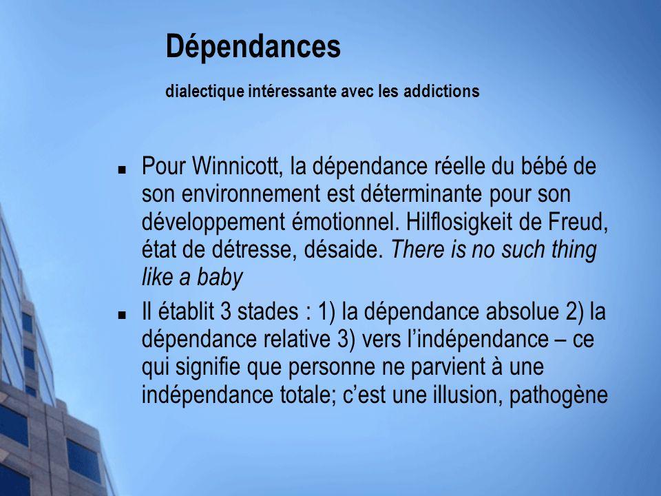 Dépendances dialectique intéressante avec les addictions Pour Winnicott, la dépendance réelle du bébé de son environnement est déterminante pour son d