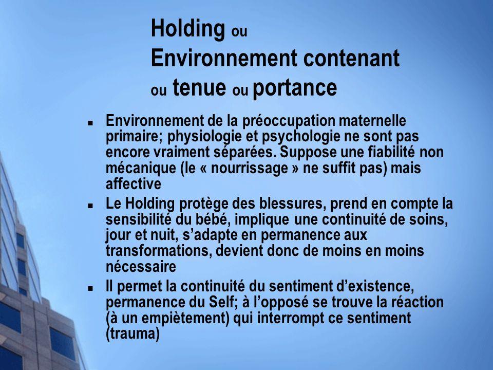 Holding ou Environnement contenant ou tenue ou portance Environnement de la préoccupation maternelle primaire; physiologie et psychologie ne sont pas