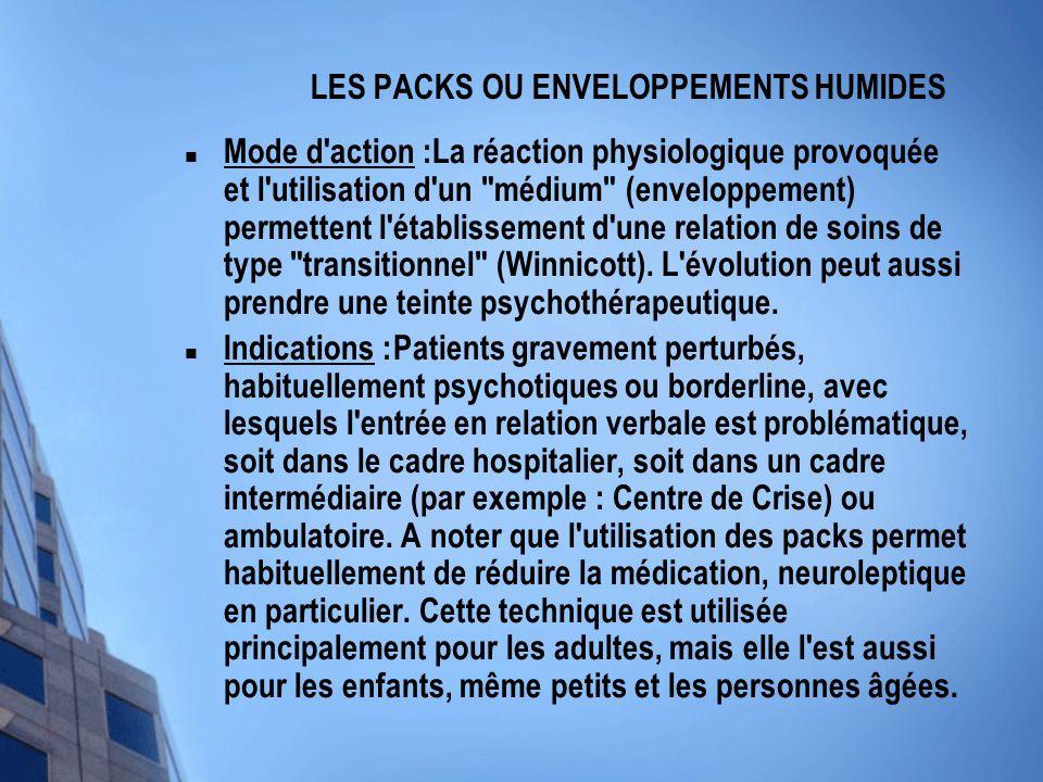 LES PACKS OU ENVELOPPEMENTS HUMIDES Mode d'action :La réaction physiologique provoquée et l'utilisation d'un