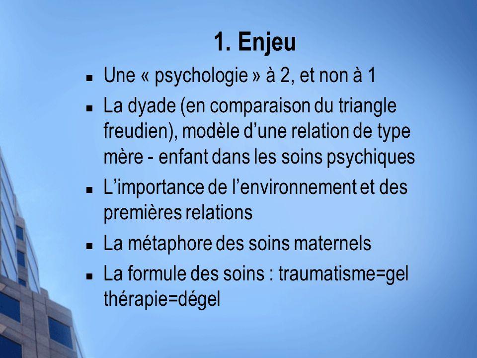 1. Enjeu Une « psychologie » à 2, et non à 1 La dyade (en comparaison du triangle freudien), modèle dune relation de type mère - enfant dans les soins