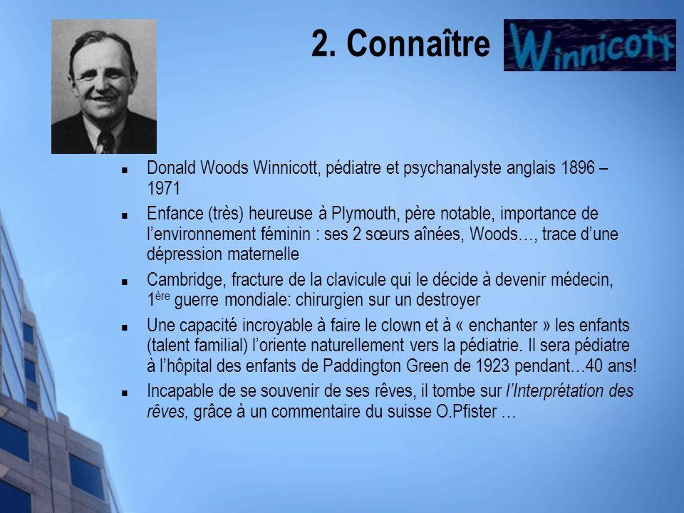 2. Connaître Winnicott Donald Woods Winnicott, pédiatre et psychanalyste anglais 1896 – 1971 Enfance (très) heureuse à Plymouth, père notable, importa