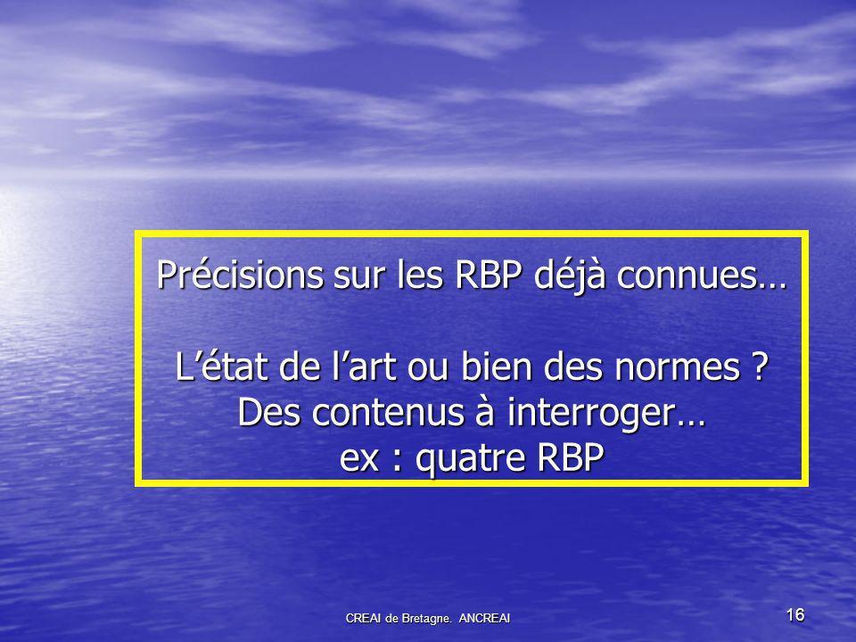 16 Précisions sur les RBP déjà connues… Létat de lart ou bien des normes .