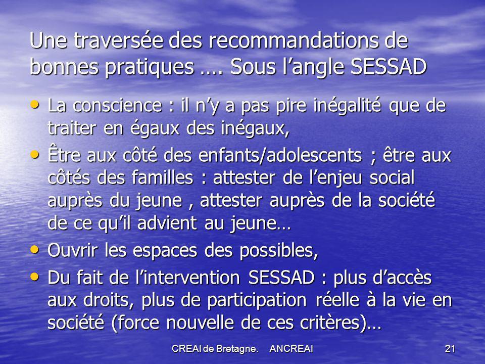 CREAI de Bretagne.ANCREAI21 Une traversée des recommandations de bonnes pratiques ….