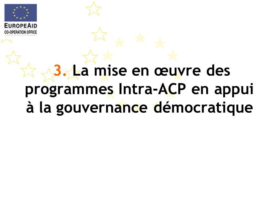 3. La mise en œuvre des programmes Intra-ACP en appui à la gouvernance démocratique