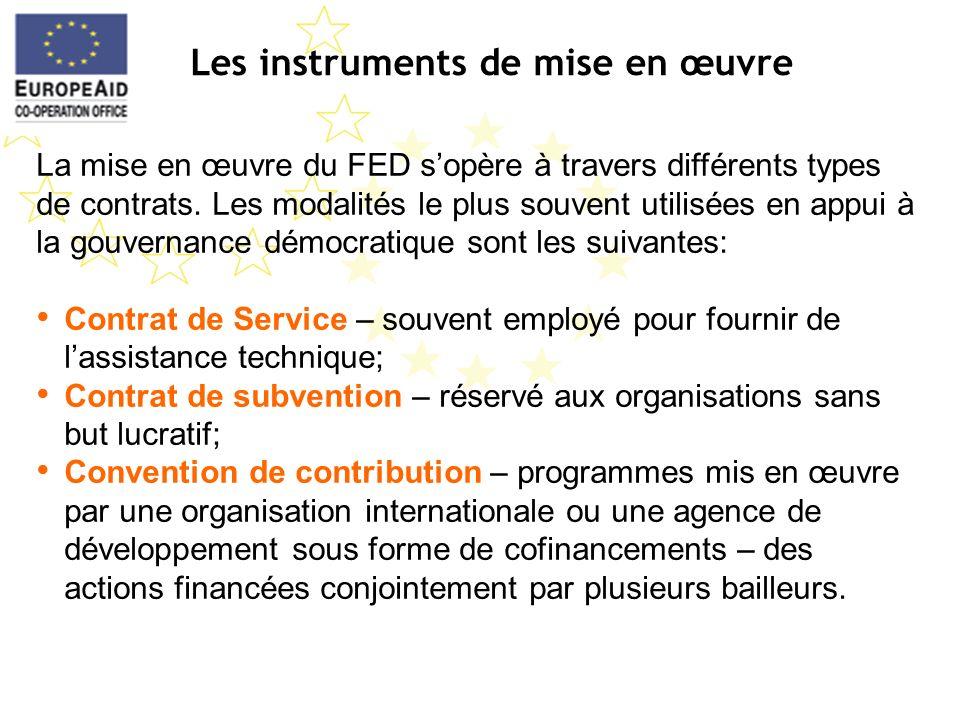 Les instruments de mise en œuvre La mise en œuvre du FED sopère à travers différents types de contrats. Les modalités le plus souvent utilisées en app