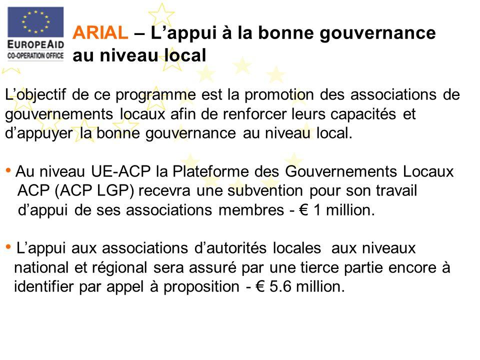ARIAL – Lappui à la bonne gouvernance au niveau local Lobjectif de ce programme est la promotion des associations de gouvernements locaux afin de renf