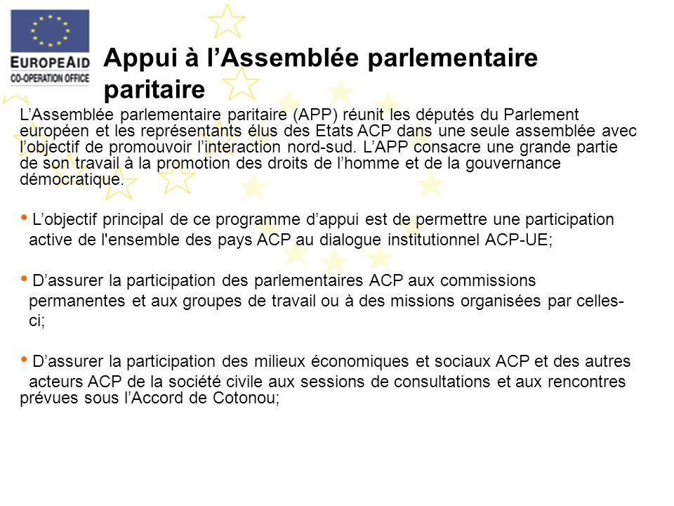 Appui à lAssemblée parlementaire paritaire LAssemblée parlementaire paritaire (APP) réunit les députés du Parlement européen et les représentants élus