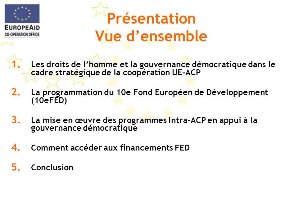 Présentation Vue densemble 1. Les droits de lhomme et la gouvernance démocratique dans le cadre stratégique de la coopération UE-ACP 2. La programmati