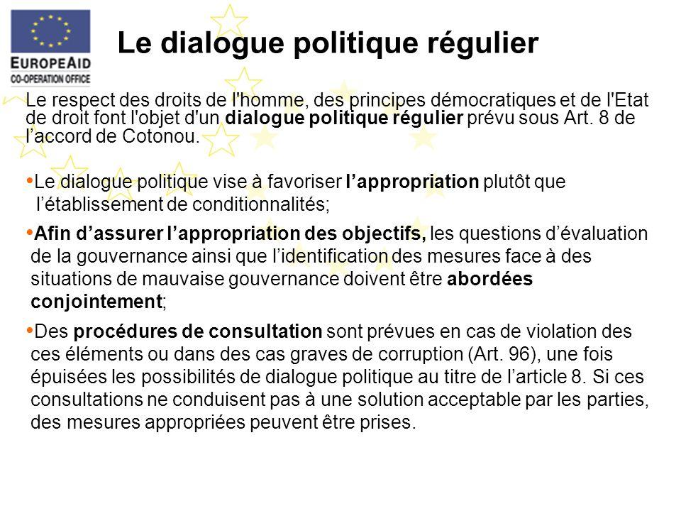 Le dialogue politique régulier Le respect des droits de l'homme, des principes démocratiques et de l'Etat de droit font l'objet d'un dialogue politiqu