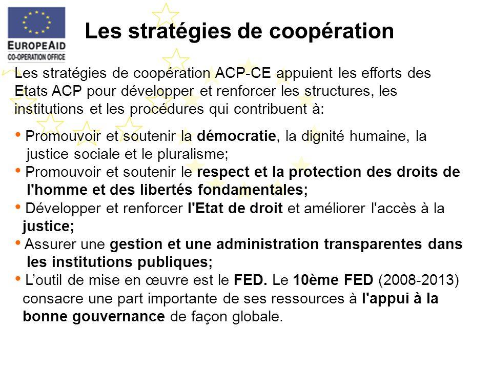 Les stratégies de coopération Les stratégies de coopération ACP-CE appuient les efforts des Etats ACP pour développer et renforcer les structures, les