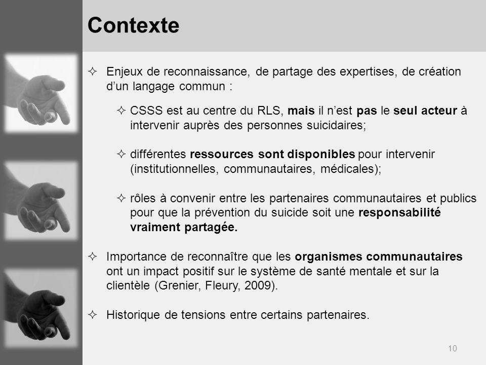 10 Enjeux de reconnaissance, de partage des expertises, de création dun langage commun : CSSS est au centre du RLS, mais il nest pas le seul acteur à