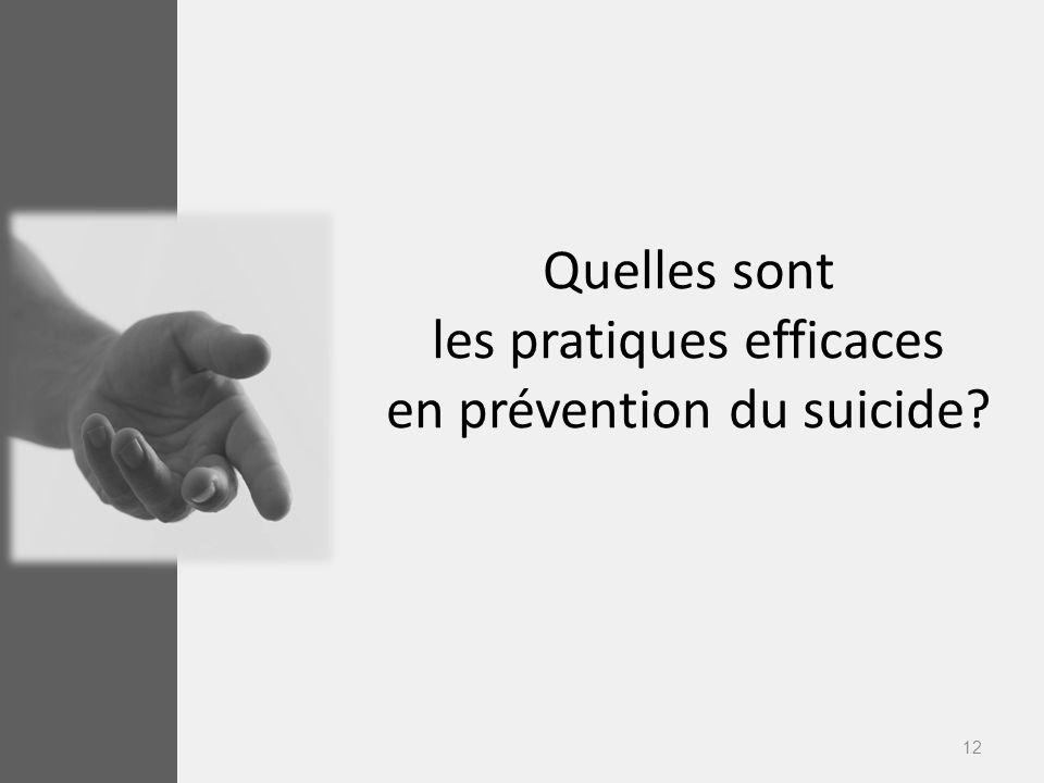 12 Quelles sont les pratiques efficaces en prévention du suicide?