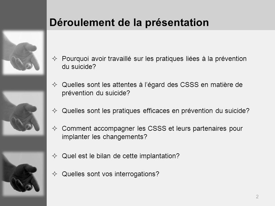 2 Déroulement de la présentation Pourquoi avoir travaillé sur les pratiques liées à la prévention du suicide? Quelles sont les attentes à légard des C