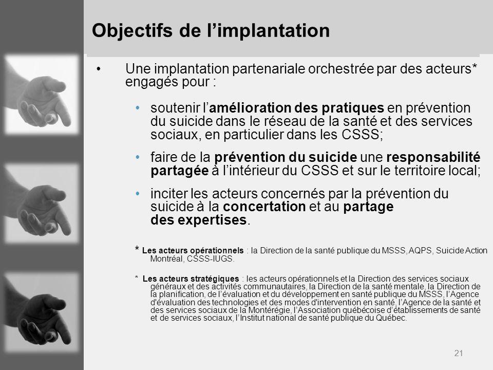 21 Objectifs de limplantation Une implantation partenariale orchestrée par des acteurs* engagés pour : soutenir lamélioration des pratiques en prévent