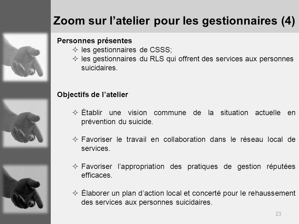 23 Zoom sur latelier pour les gestionnaires (4) Personnes présentes les gestionnaires de CSSS; les gestionnaires du RLS qui offrent des services aux p