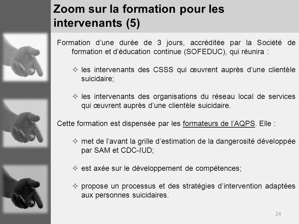 24 Zoom sur la formation pour les intervenants (5) Formation dune durée de 3 jours, accréditée par la Société de formation et déducation continue (SOF