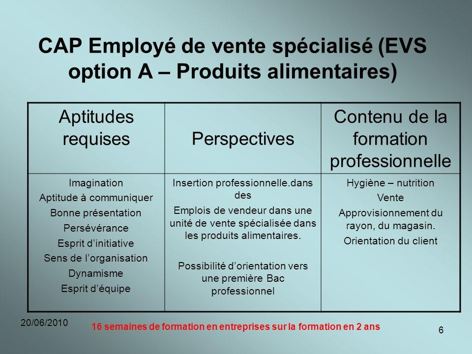 20/06/2010 6 CAP Employé de vente spécialisé (EVS option A – Produits alimentaires) Aptitudes requises Perspectives Contenu de la formation profession