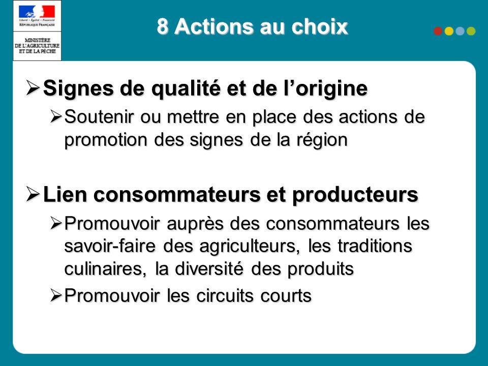 8 Actions au choix Signes de qualité et de lorigine Signes de qualité et de lorigine Soutenir ou mettre en place des actions de promotion des signes d
