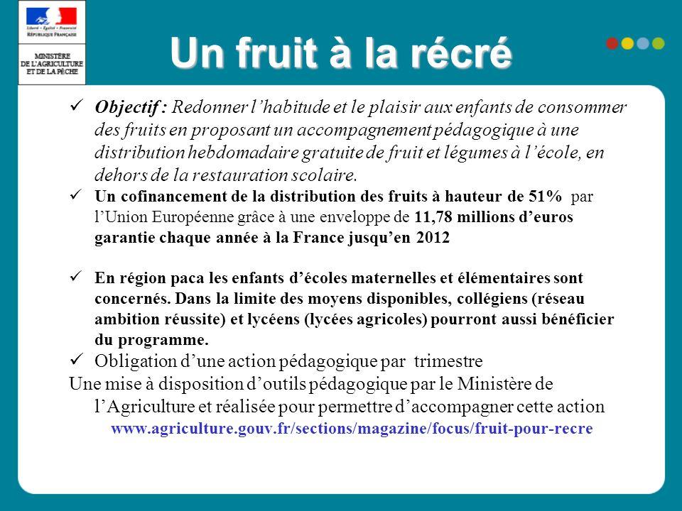 Un fruit à la récré Objectif : Redonner lhabitude et le plaisir aux enfants de consommer des fruits en proposant un accompagnement pédagogique à une distribution hebdomadaire gratuite de fruit et légumes à lécole, en dehors de la restauration scolaire.