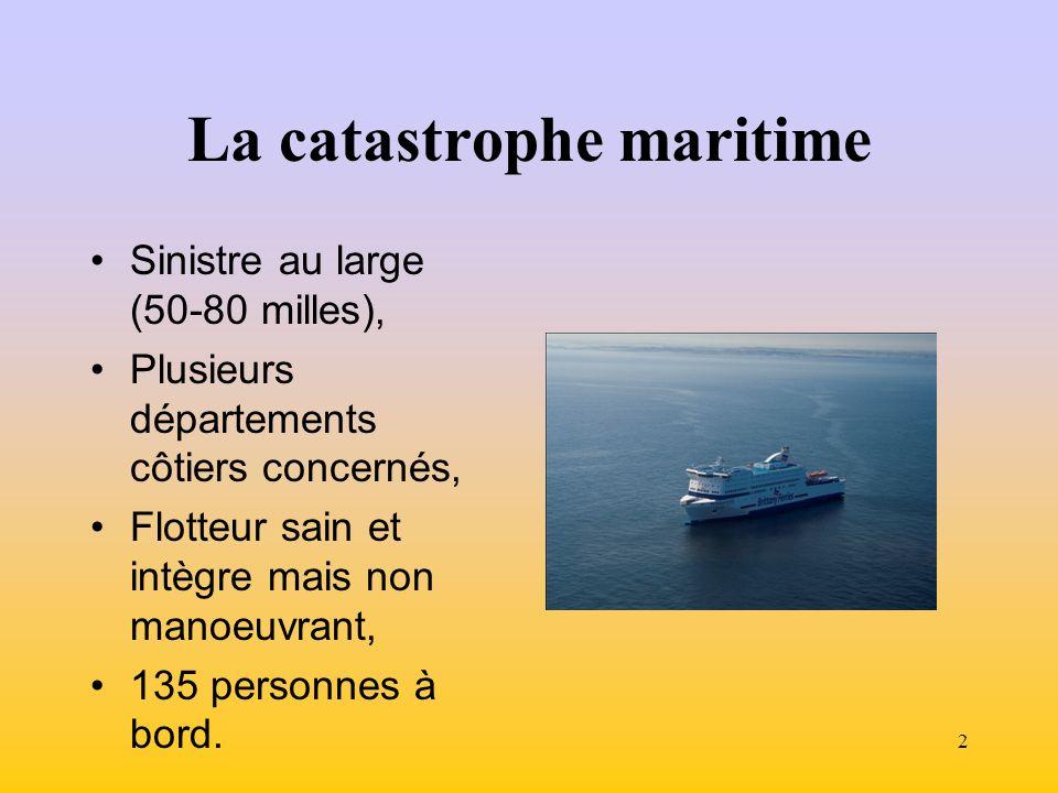2 La catastrophe maritime Sinistre au large (50-80 milles), Plusieurs départements côtiers concernés, Flotteur sain et intègre mais non manoeuvrant, 135 personnes à bord.