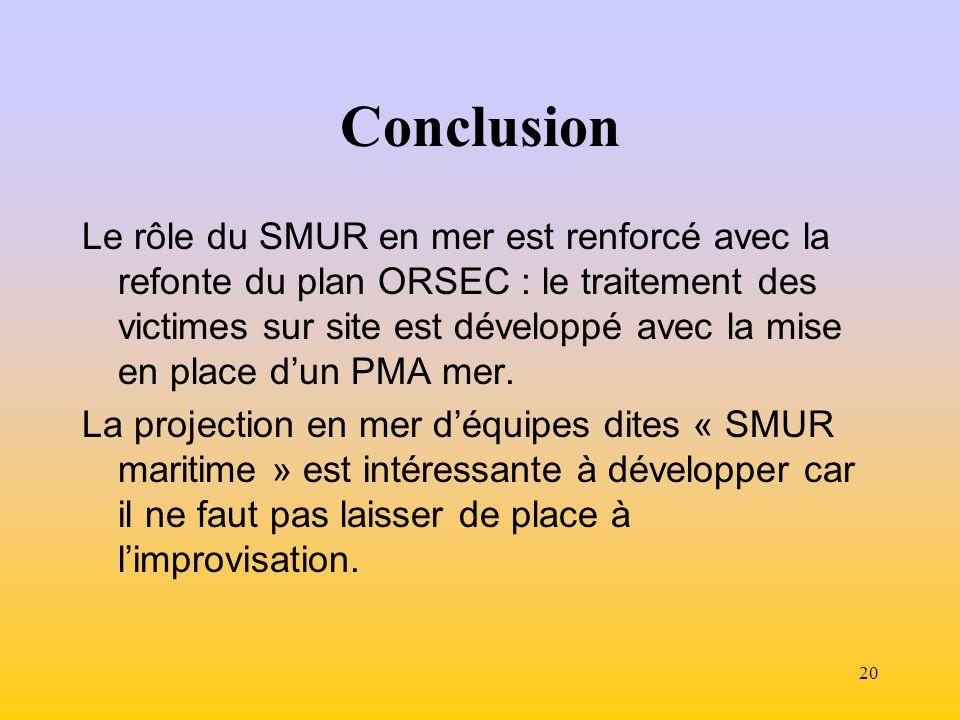 20 Conclusion Le rôle du SMUR en mer est renforcé avec la refonte du plan ORSEC : le traitement des victimes sur site est développé avec la mise en place dun PMA mer.