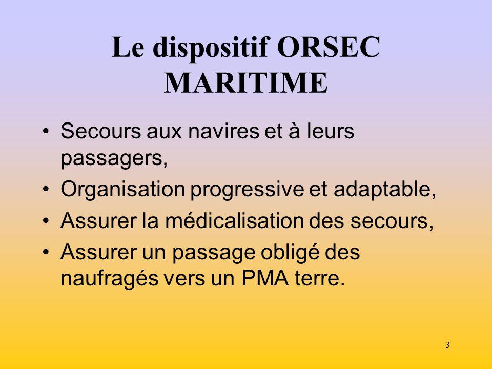 3 Le dispositif ORSEC MARITIME Secours aux navires et à leurs passagers, Organisation progressive et adaptable, Assurer la médicalisation des secours, Assurer un passage obligé des naufragés vers un PMA terre.