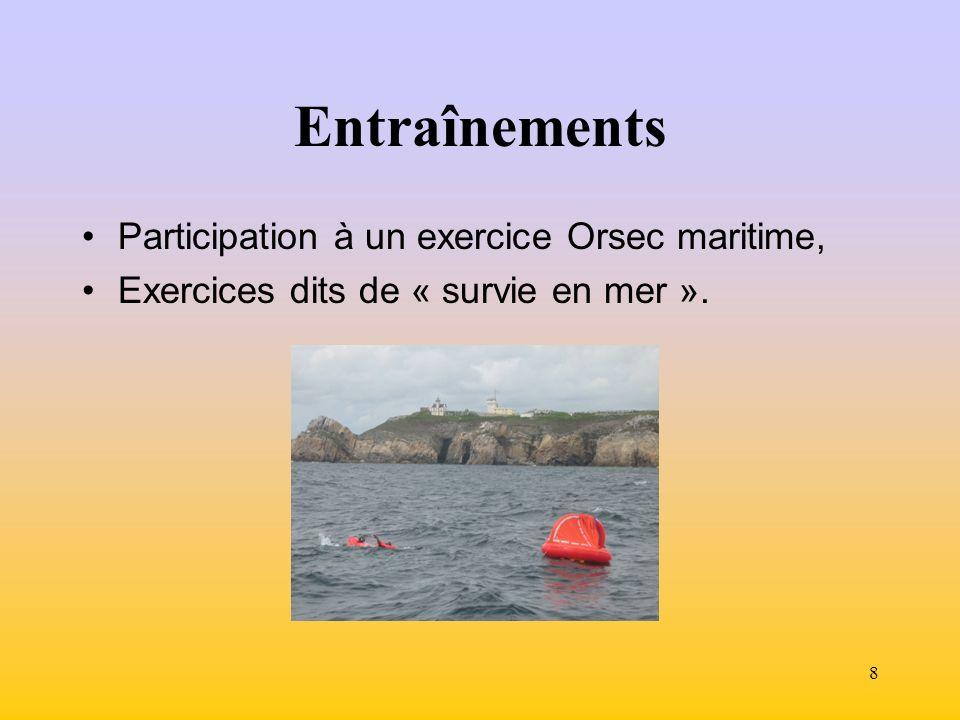 8 Entraînements Participation à un exercice Orsec maritime, Exercices dits de « survie en mer ».